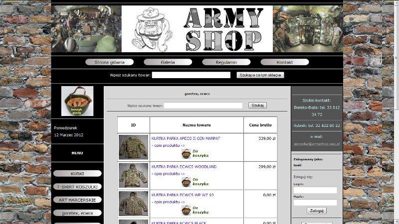Sklep internetowy ARMY SHOP Bielsko-Biała