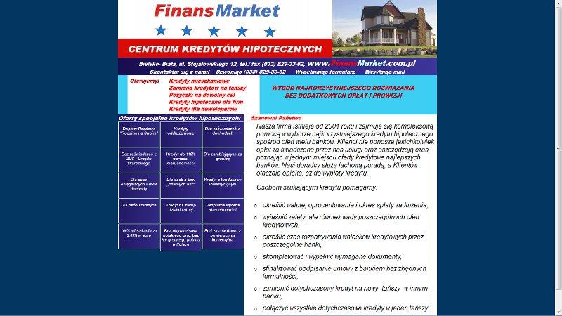 Strona internetowa firmy Finans Market